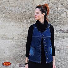 Iné oblečenie - teplá džínová propínací vesta, podšitá fleecem 42,44 - 7235675_