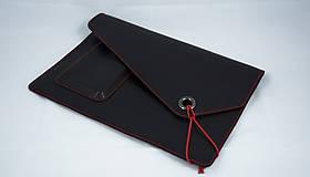 - Kožené púzdro na MacBook Air 13 čierne s červeným šitím - 7234061_