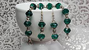 Sady šperkov - Set DARK GREEN náramok+náušnice - 7236929_