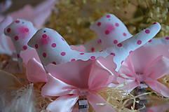 Dekorácie - Vtáčik ružový - menovka - 7234722_