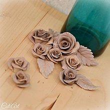 Materiál ručne robený - Staroružové Capuccino ruže - sada 12 ks - 7234067_