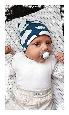 Detské čiapky - Bavlnená čiapka obláčik & petrolej - 7236967_