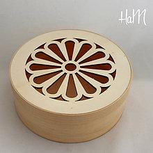 Polotovary - Okrúhla krabička s kvietkom veľká 163 x 65 mm - 7235735_