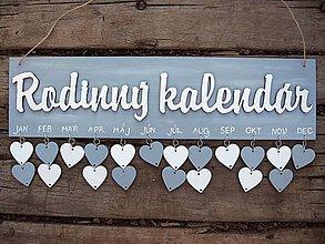 Dekorácie - rodinný kalendár sivo - biely  - 7241229_