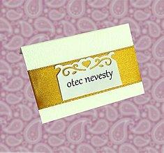 Papiernictvo - Svadobné menovky zlaté - 7239344_