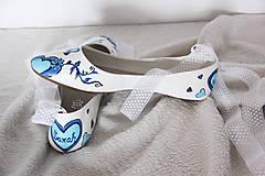 Obuv - jemné svadobné balerínky s modrým srdcom - 7239171_