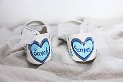 Obuv - jemné svadobné balerínky s modrým srdcom - 7239174_