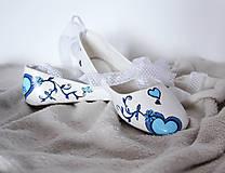 Obuv - jemné svadobné balerínky s modrým srdcom - 7239175_