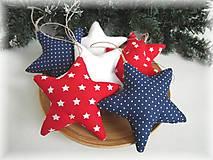 Dekorácie - Vianočné ozdoby- biela,  modrá, červená  - 7238018_