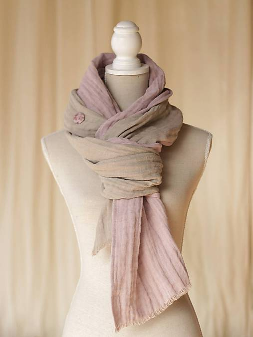 Staroružová a hortenzie - hrejivý obojstranný ľanový -bavlnený šál ... 6b63e396e68