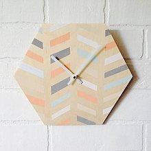 Hodiny - Nástenné hodiny prúžky pastelové - 7239172_