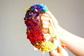 Ozdoby do vlasov - Rainbow vlasový venček z kvetin - 7239072_