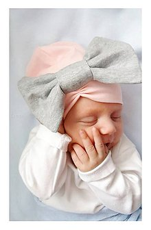 Detské čiapky - Bavlnená čiapka & maxi mašľa - 7239180_