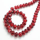 Korálky - Korálky - sklenené brúsené 8x10mm lesklé AB Red Colorized - 7243477_
