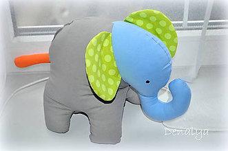 Hračky - Slon šedo, želeno, modrý - 7245871_