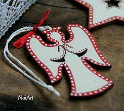 Dekorácie - Vianočná ozdoba anjel folk - 7241888_