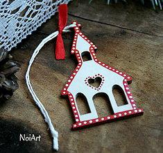 Dekorácie - Vianočná ozdoba kostolík folk - 7245439_