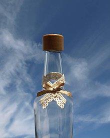 Darčeky pre svadobčanov - Stužka na fľašu - Čipka - 7243451_