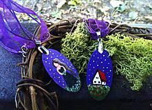 Náhrdelníky - Nočné kvety - maľovaný náhrdelník fialový - 7243311_