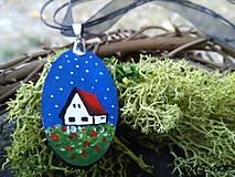 Náhrdelníky - Nočné kvety - maľovaný náhrdelník domček - 7243333_