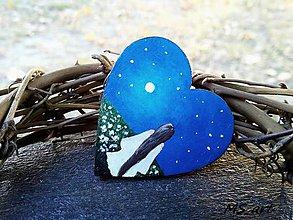 Odznaky/Brošne - Drevená brošňa - srdce modrá - 7242987_