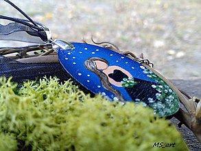 Náhrdelníky - Nočné kvety - maľovaný náhrdelník modrý - 7243240_
