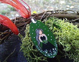 Náhrdelníky - Nočné kvety - maľovaný náhrdelník zelený - 7243295_