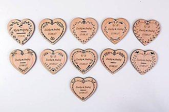 Drobnosti - Svadobné magnetky z dreva - 7242613_