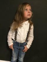 - Detské, štýlové, páskované traky s čiernou kožou, veľ.2-6rokov - 7245746_