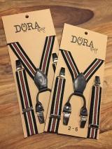 - Detské, štýlové, páskované traky s čiernou kožou, veľ.6-10rokov - 7245811_
