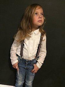 Detské doplnky - Detské, štýlové, páskované traky s čiernou kožou, veľ.2-6rokov - 7245746_
