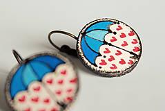 Náušnice - maľované náušnice - pod dáždnikom prší láska v modrom :) - 7242302_