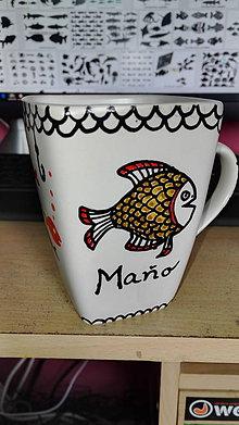Nádoby - Ručne maľovaný hrnček pre rybára - 7246183_