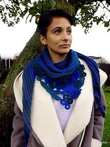 Šály - Šatka - Modrozelená intarzia - 7243329_
