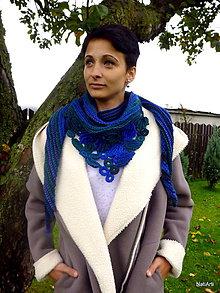 Šály - Šatka - Modrozelená intarzia  - 7243331_