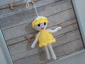Dekorácie - anjelik - dekorácia 8 / capucino/žltý / - 7245790_
