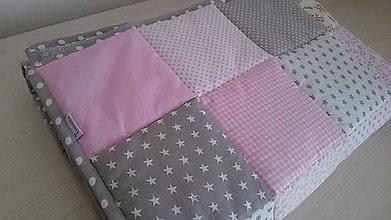 Textil - Bebe deka - ružová so sivou - 7247165_
