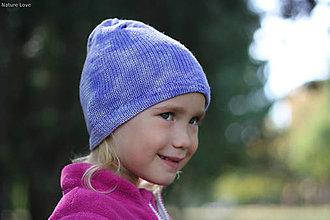 Detské čiapky - Pletená čiapočka merino - VIOLET - 7249142_