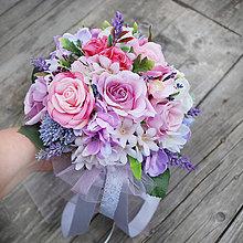Kytice pre nevestu - Svadobná kytica pre nevestu ružovo fialková - 7248330_