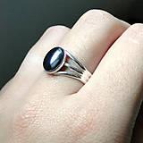 Prstene - Natural Hematite Silver Plated 925 Ring / Postriebrený prsteň s hematitom - 7249785_