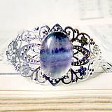 Náramky - Silver Fluorite Bangle Bracelet / Obručový náramok s fluoritom v striebornom prevedení - 7249847_
