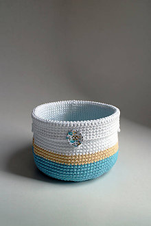 Košíky - Košík - Biela žltá tyrkysová svetlá gombík - 7248887_