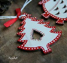 Dekorácie - Vianočná ozdoba stromček folk - 7246302_