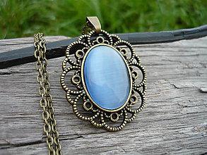 Náhrdelníky - Náhrdelník Nostalgic light blue - 7250200_