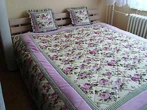 Úžitkový textil - Romantický prehoz + vankúšiky - 7248807_