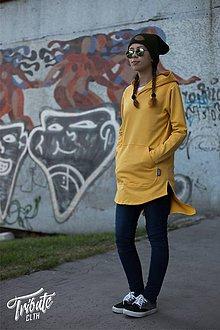Mikiny - Long Mustard Hoodies - 7248464_