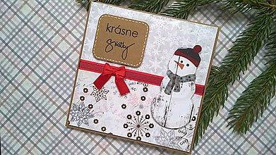 Papiernictvo - Vianočná  pohľadnica pán Snehuliak - 7248718_