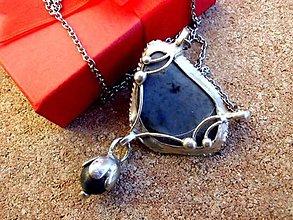 Náhrdelníky - cínovaný náhrdelník  modrý s Dumortieritom - 7247001_