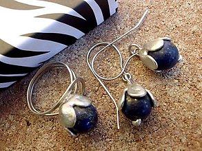 Sady šperkov - cínované náušnice + prsteň s Lazuritom - 7247116_