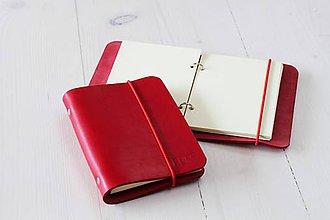 Papiernictvo - Kožený zápisník / karisblok A6 (MINI RED) - 7247073_